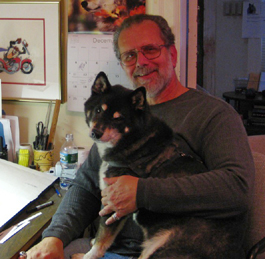 Author/Cartoonist Paul Jamiol with Bandit